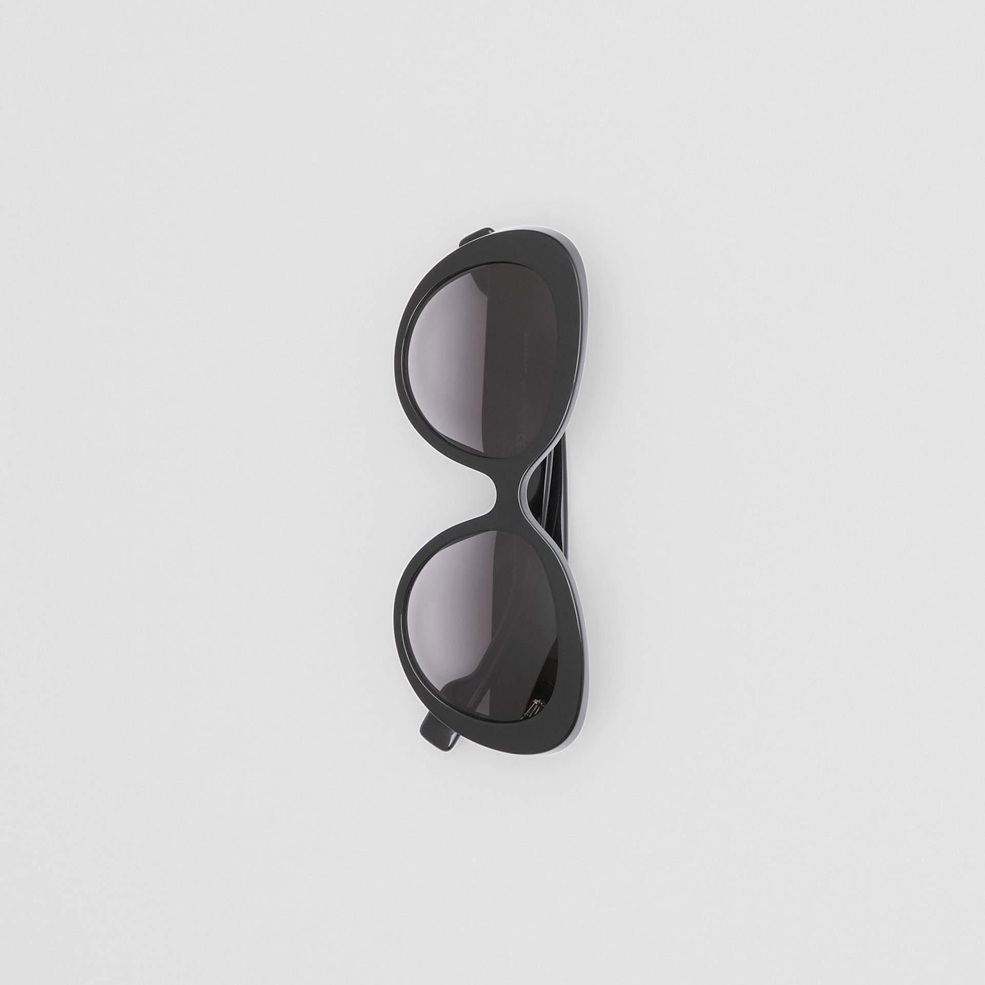 Monogram Motif Cat-eye Frame Sunglasses in Black - Women | Burberry United Kingdom - gallery image 3