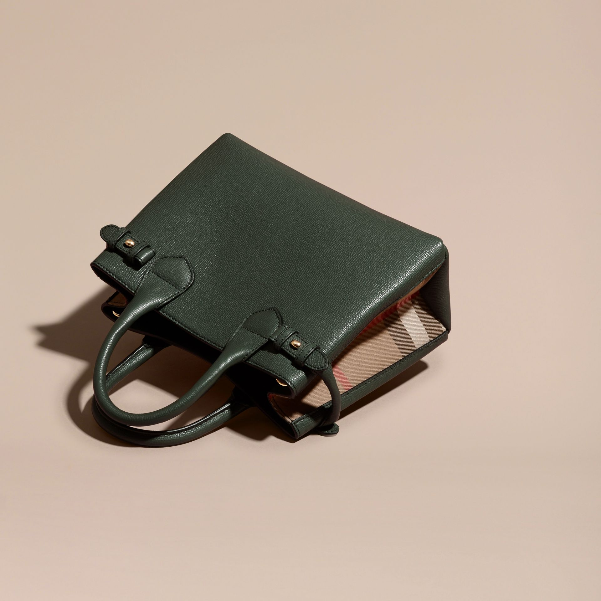 The Small Banner in Leather and House Check Dark Bottle Green - gallery image 4
