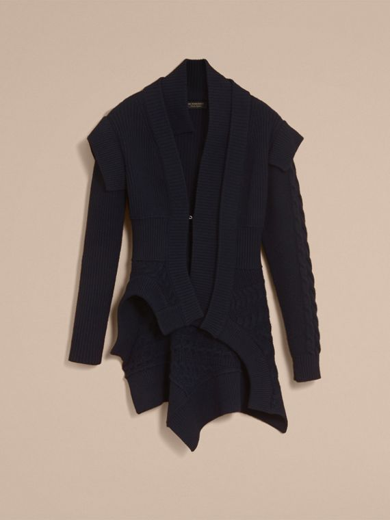 Knitted Wool Cashmere Military-inspired Jacket in Navy - Women | Burberry - cell image 3