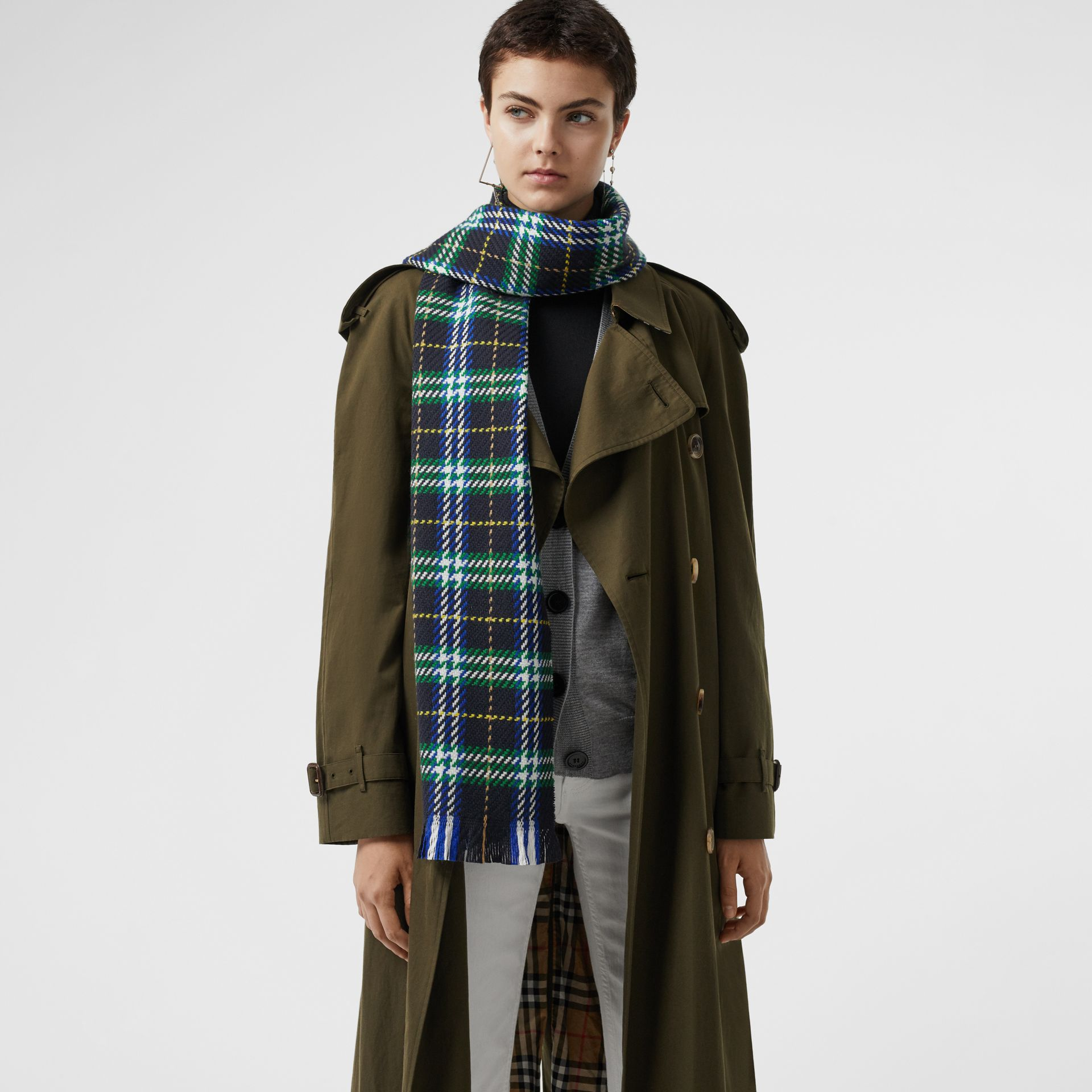 Check Merino Wool Scarf in Navy | Burberry - gallery image 5