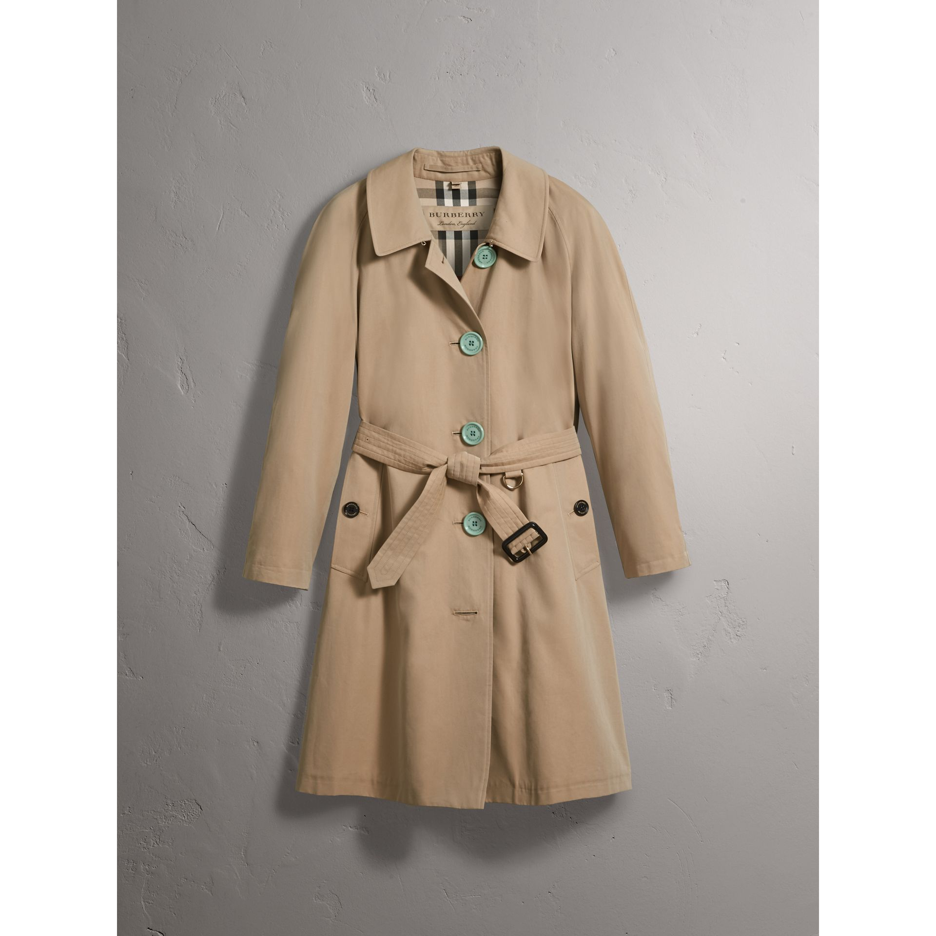 Resin Button Cotton Gabardine Trench Coat in Honey - Women | Burberry United Kingdom - gallery image 3