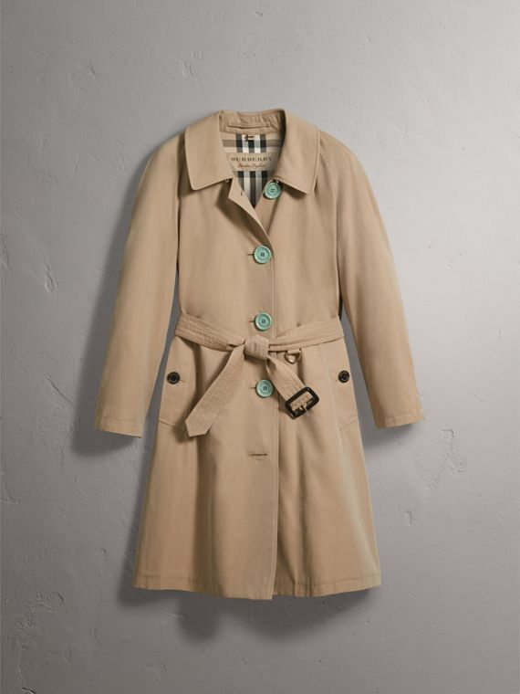 Resin Button Cotton Gabardine Trench Coat in Honey - Women | Burberry - cell image 3