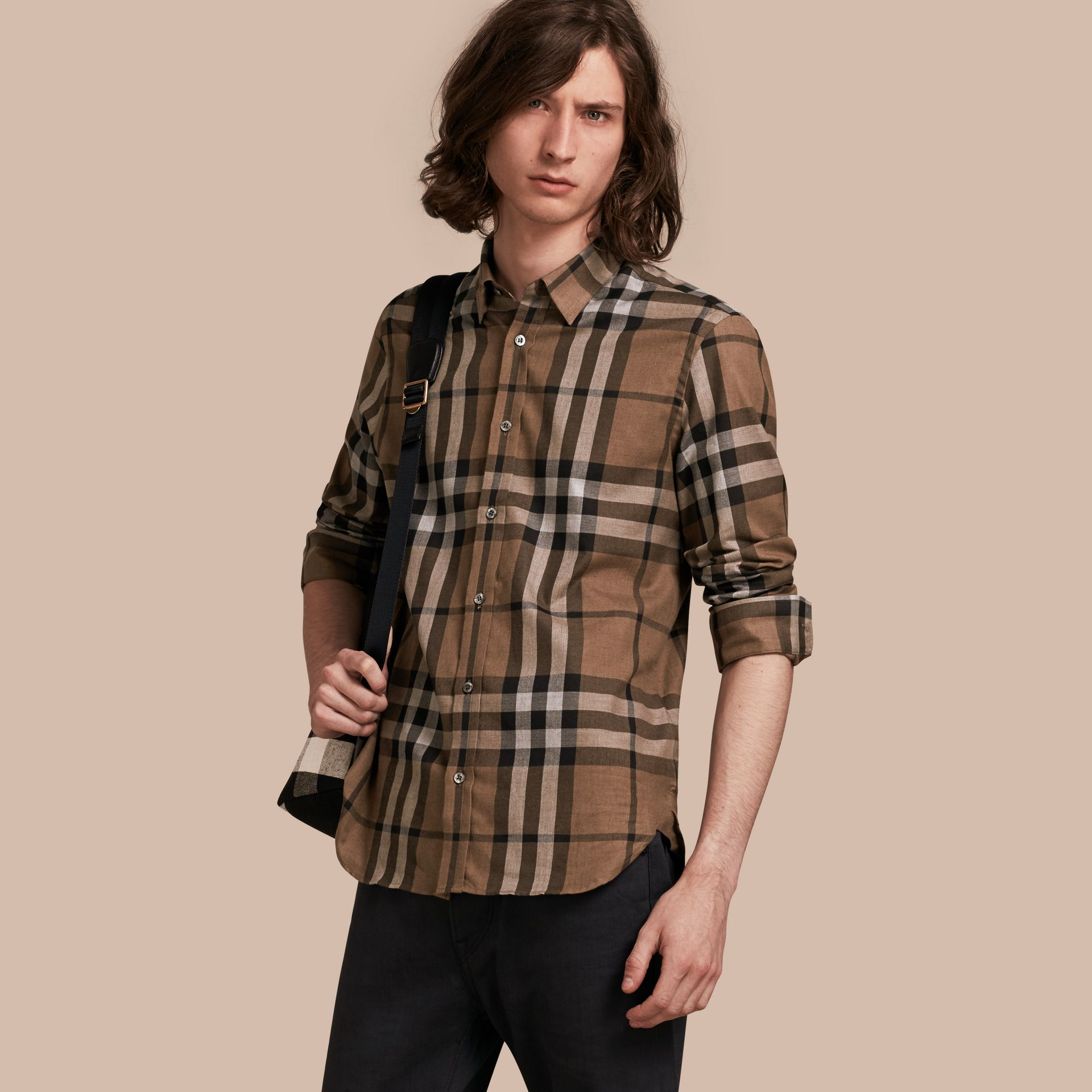 Check Cotton Cashmere Flannel Shirt in Walnut - Men | Burberry - gallery image 1
