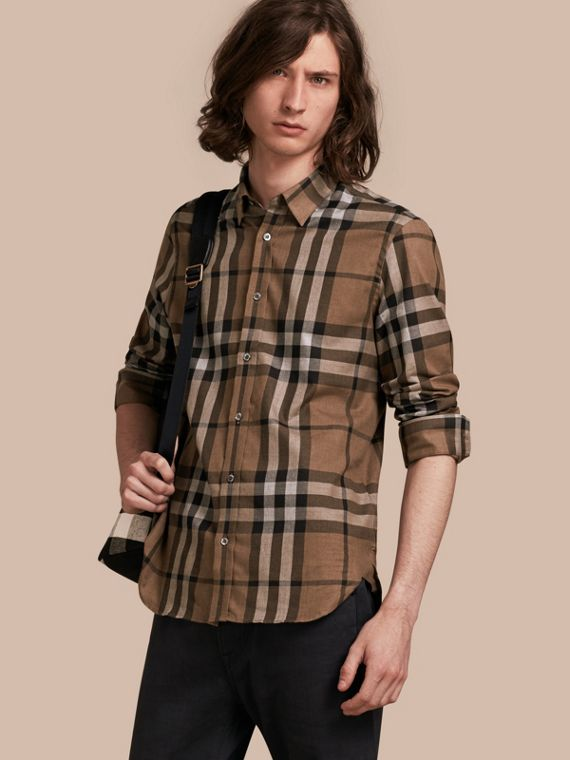 Check Cotton Cashmere Flannel Shirt - Men | Burberry
