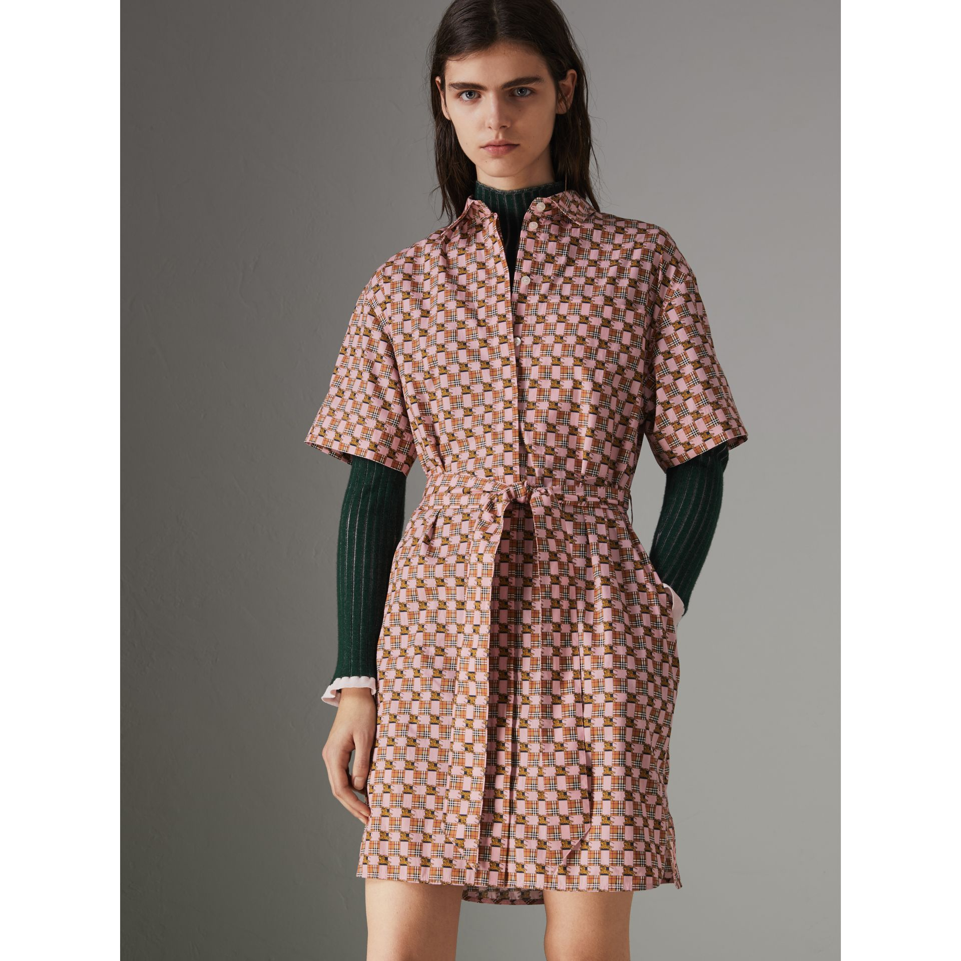 Tiled Archive Print Cotton Shirt Dress in Pink - Women | Burberry Singapore - gallery image 4