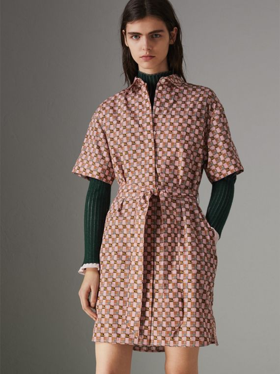 Tiled Archive Print Cotton Shirt Dress in Pink