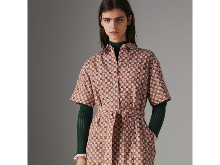 Tiled Archive Print Cotton Shirt Dress in Pink - Women | Burberry United Kingdom - cell image 4