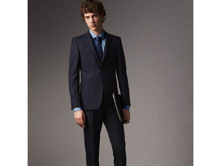 Slim Fit Stretch Cotton Poplin Shirt in City Blue - Men | Burberry Canada - cell image 4