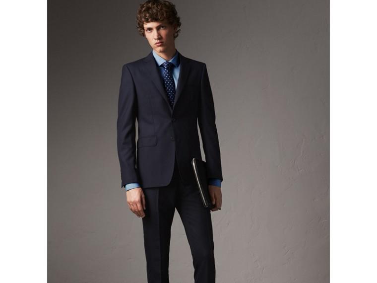 Slim Fit Stretch Cotton Poplin Shirt in City Blue - Men | Burberry Hong Kong - cell image 4