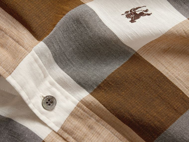 Oversize Gingham Cotton Linen Shirt Camel - cell image 1