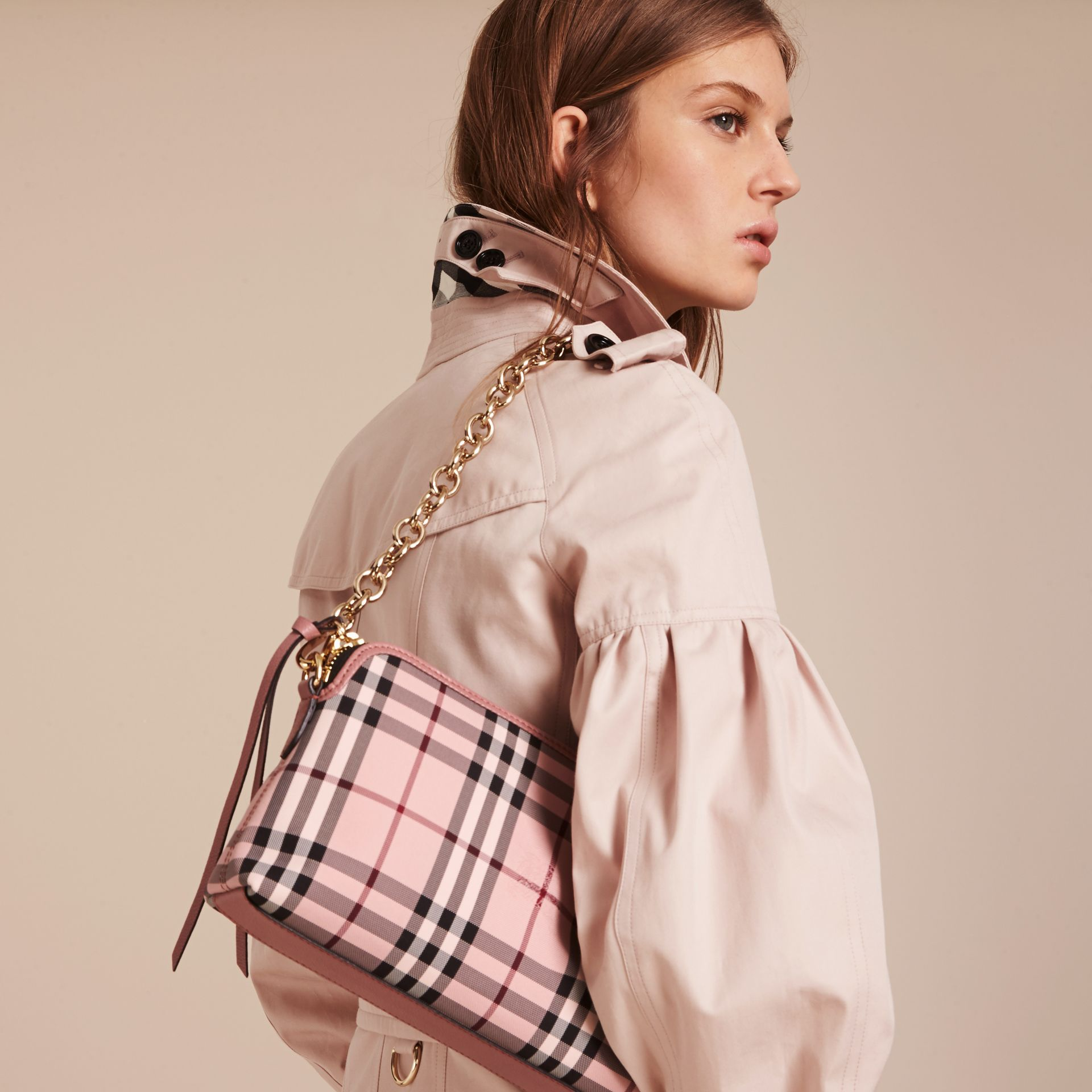 Ash rose/ dusty pink Overdyed Horseferry Check and Leather Clutch Bag - gallery image 4