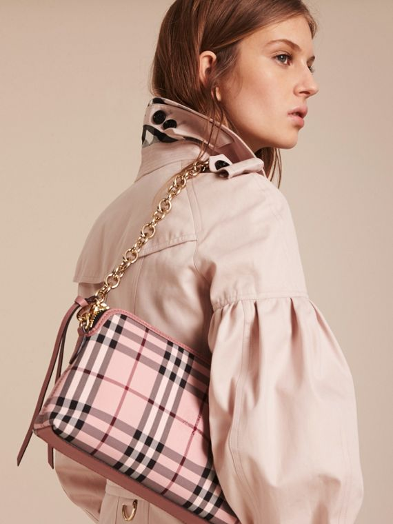 Ash rose/ dusty pink Overdyed Horseferry Check and Leather Clutch Bag - cell image 3