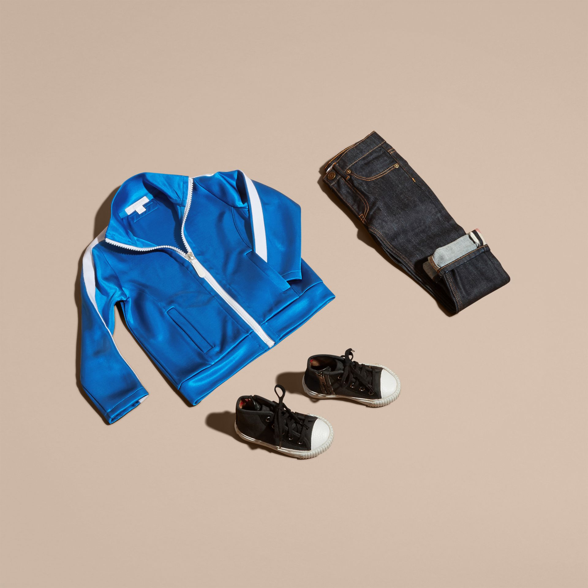 High-shine Technical Track Jacket in Atlantic Blue - gallery image 5