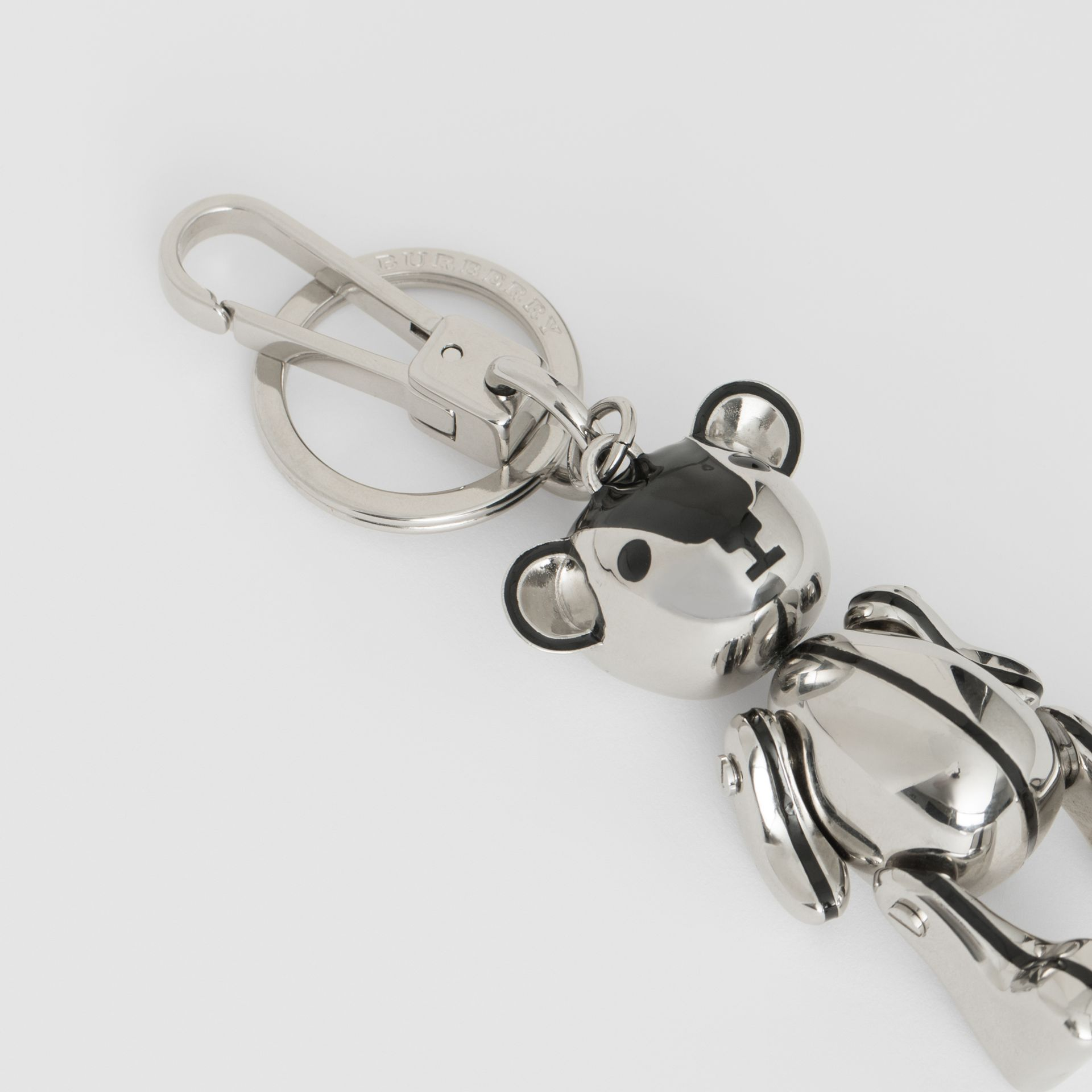 Palladium-plated Thomas Bear Charm in Black/silver | Burberry - gallery image 1