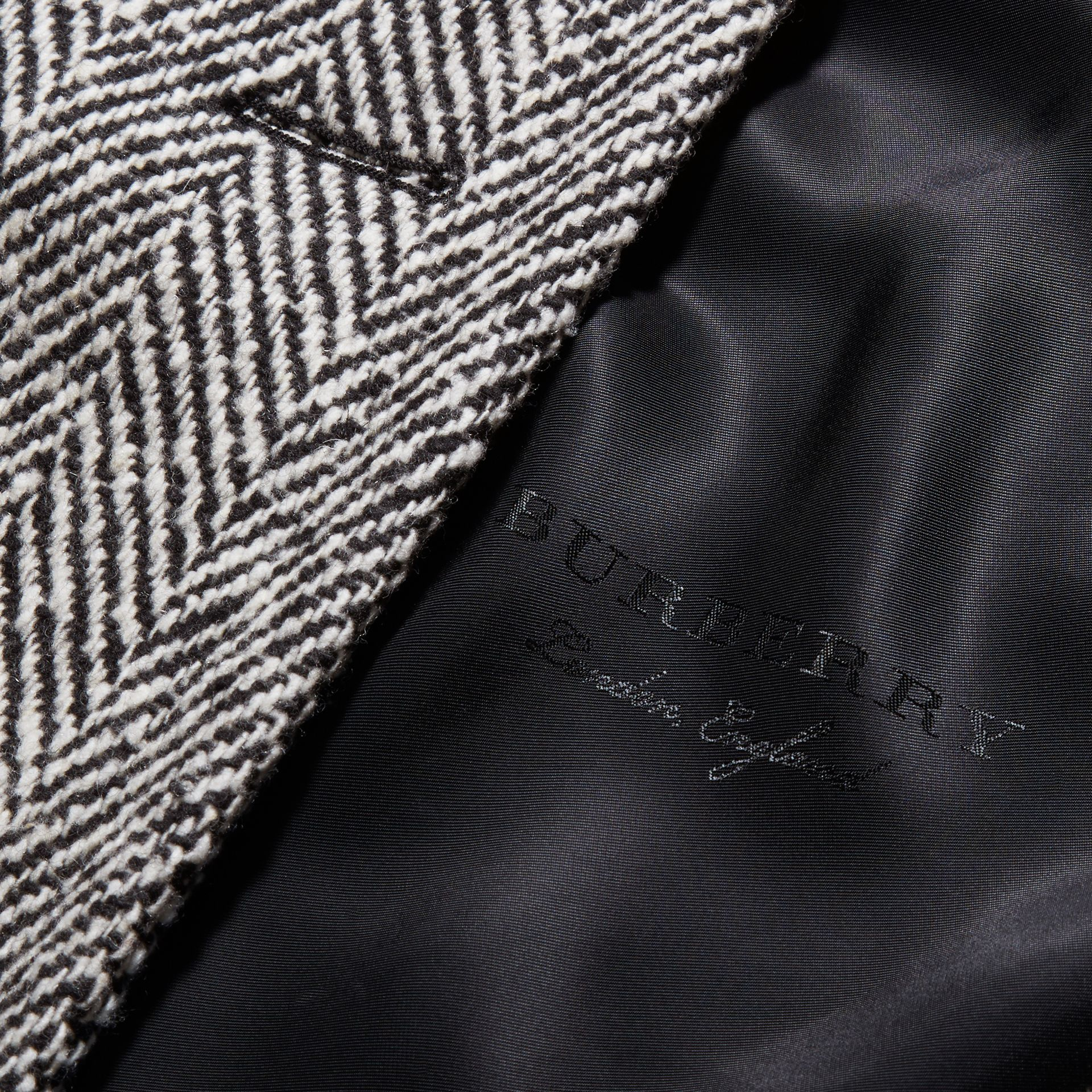 Black/white Herringbone Wool Topcoat - gallery image 2
