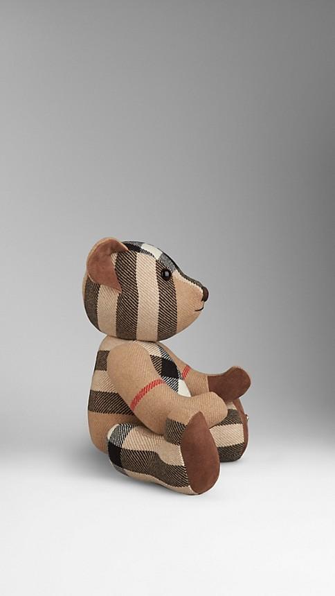 Ocre sombre Teddy-bear en cachemire à motif check - Image 2