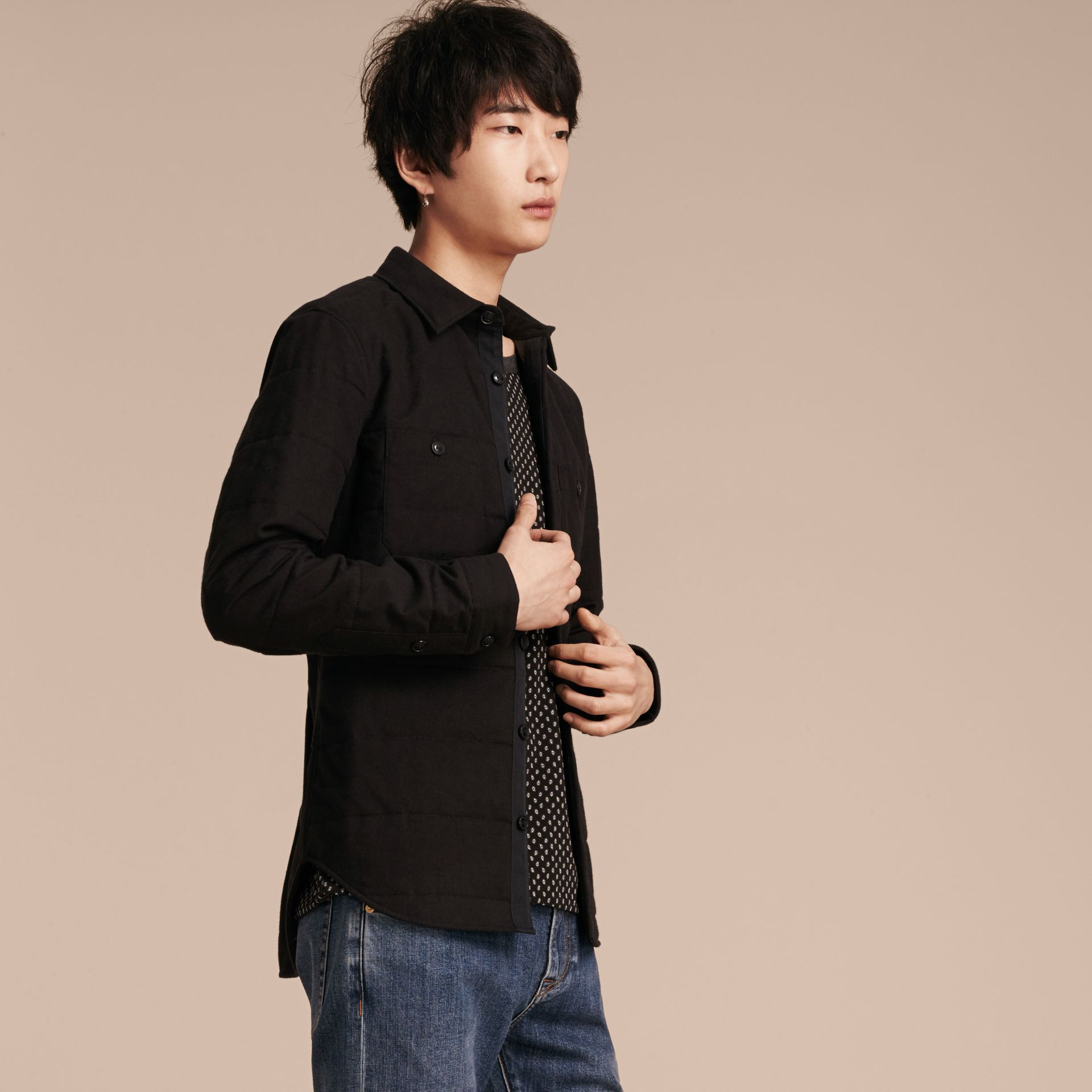 Black melange Wadded Cotton Wool Overshirt - gallery image 7