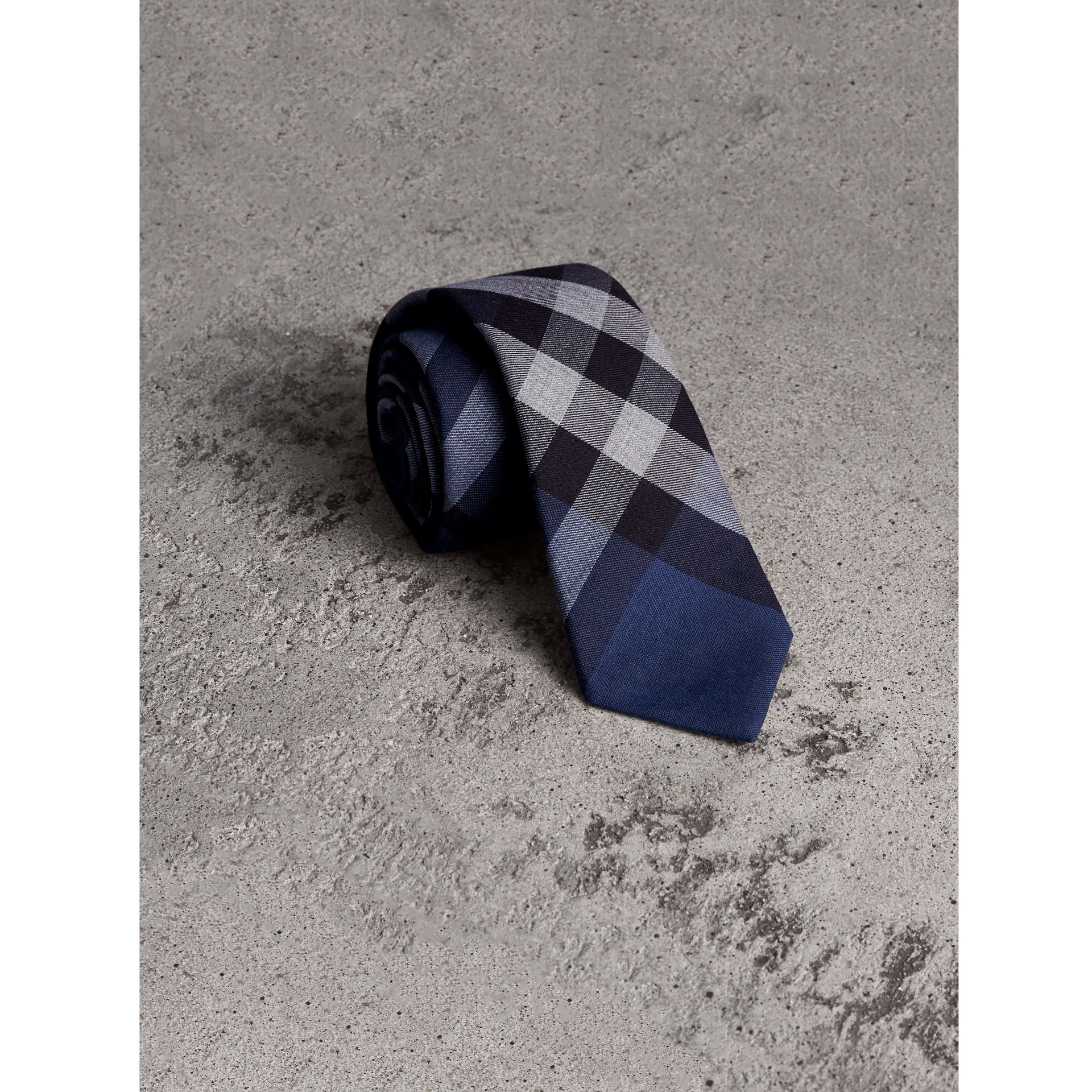 Modern Cut Check Cotton Cashmere Tie in Canvas Blue - Men | Burberry Australia - gallery image 1