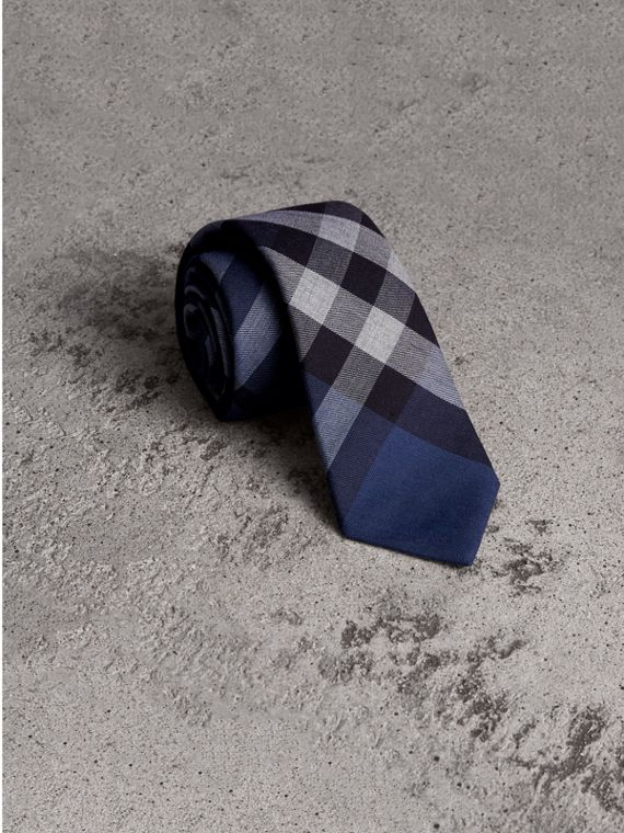 Modern Cut Check Cotton Cashmere Tie in Canvas Blue