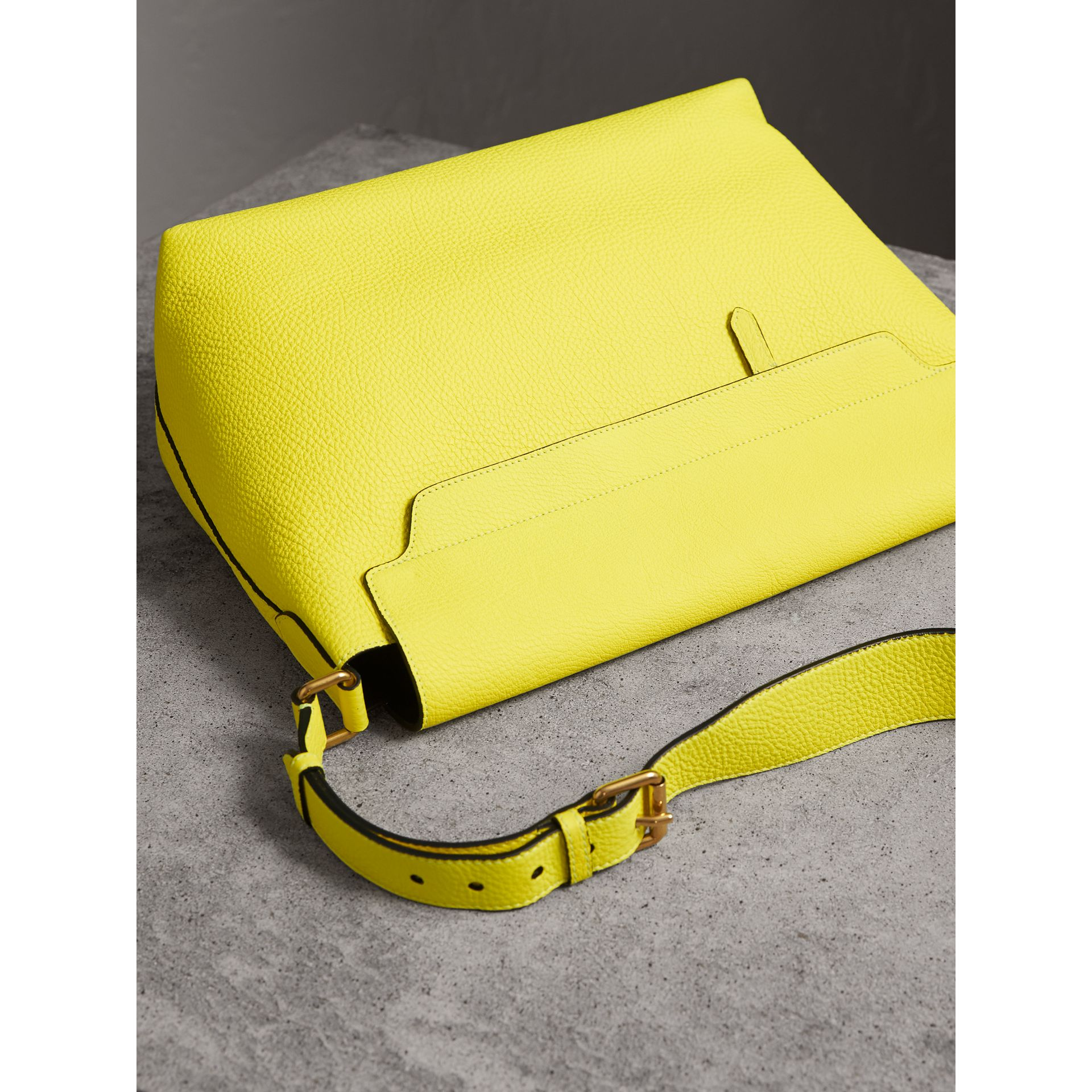 Large Embossed Leather Messenger Bag in Neon Yellow | Burberry - gallery image 4