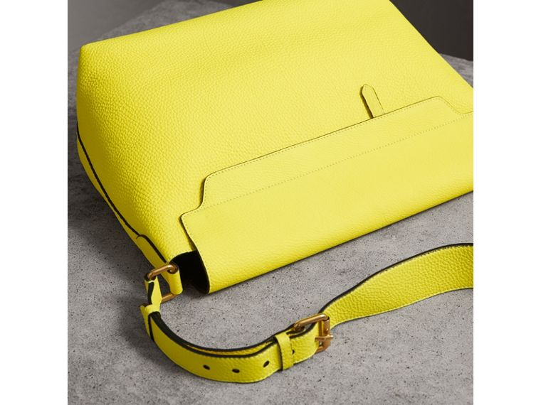 Large Embossed Leather Messenger Bag in Neon Yellow | Burberry - cell image 4