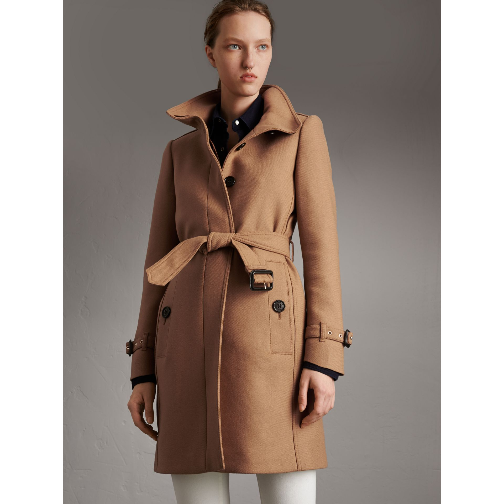 Technical Wool Cashmere Funnel Neck Coat in Camel - Women | Burberry United States - gallery image 6