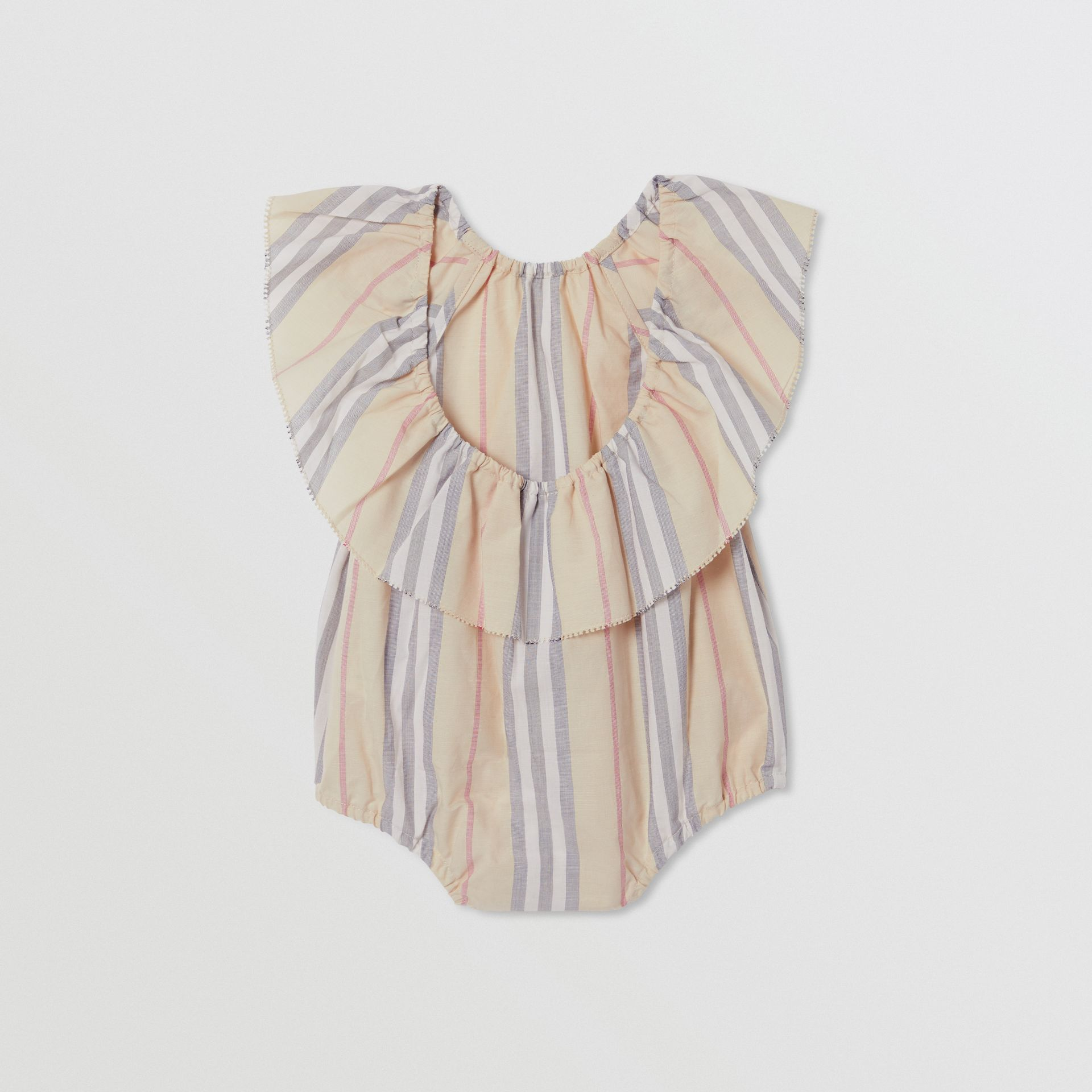 Ruffled Icon Stripe Cotton Bodysuit in Pale Stone - Children | Burberry United States - gallery image 3