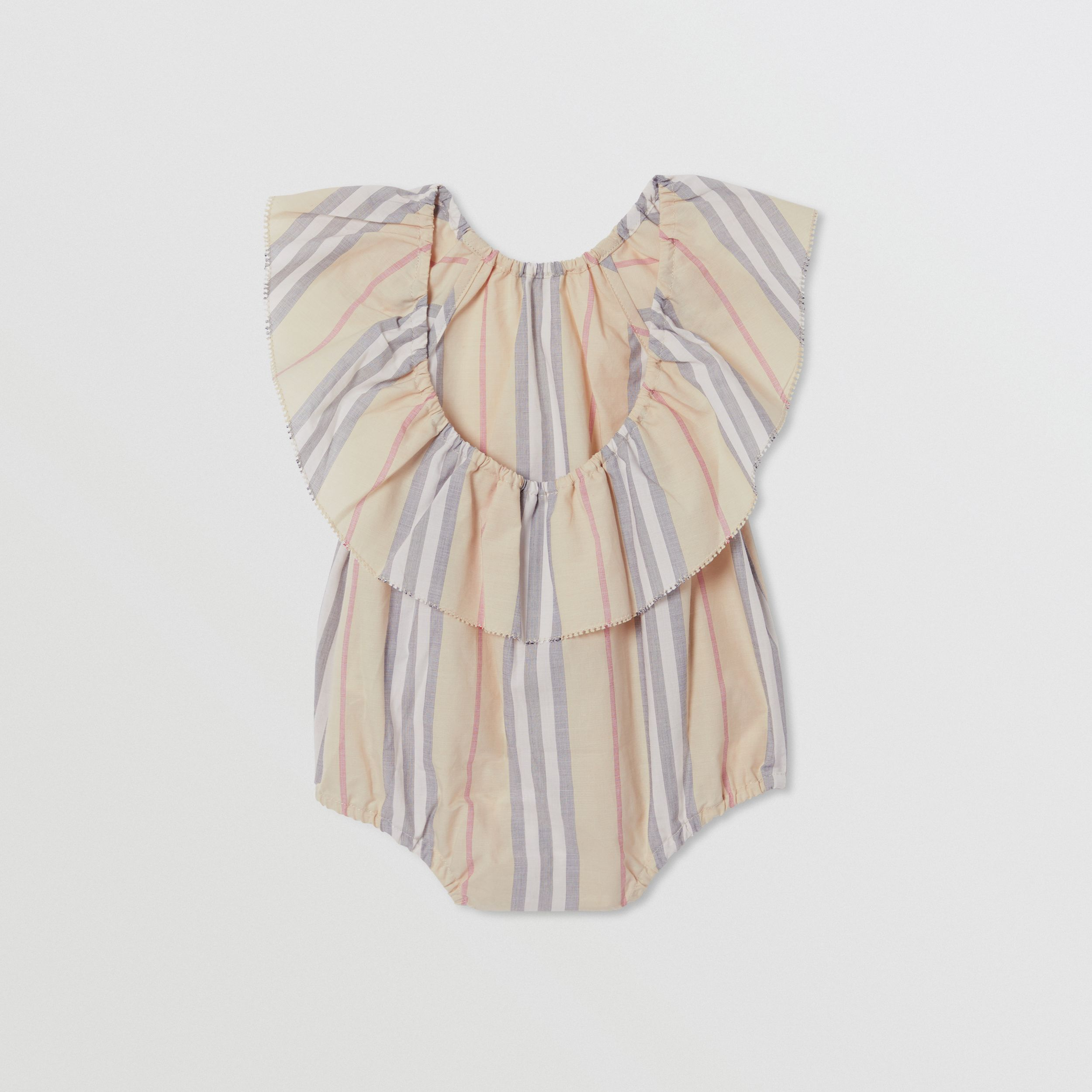 Ruffled Icon Stripe Cotton Bodysuit in Pale Stone - Children | Burberry - 4