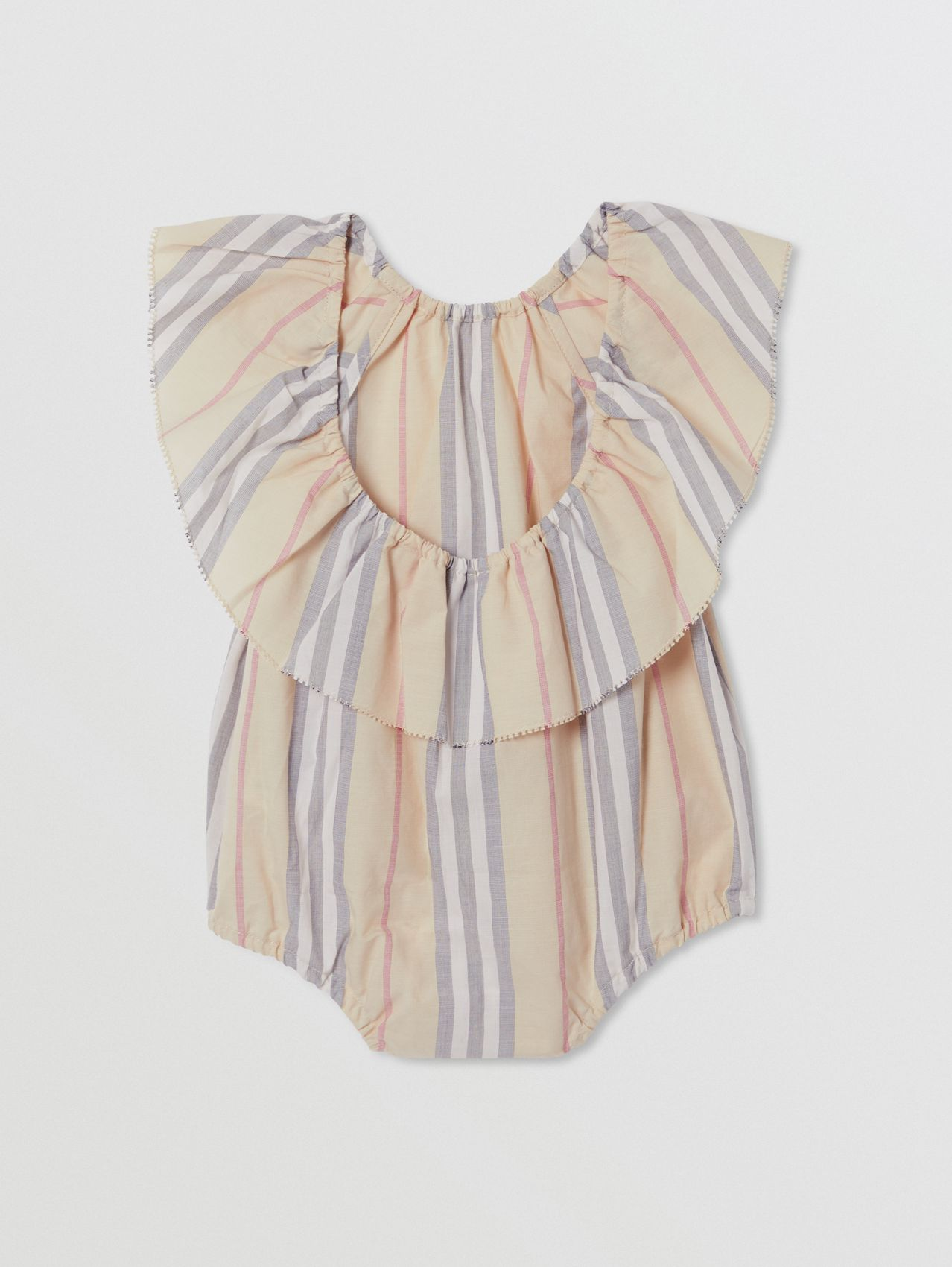 Ruffled Icon Stripe Cotton Bodysuit in Pale Stone