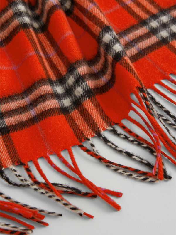 The Mini Burberry Bandana in Check Cashmere in Bright Red | Burberry United Kingdom - cell image 2