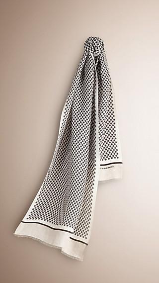 Geometric Print Linen Blend Scarf