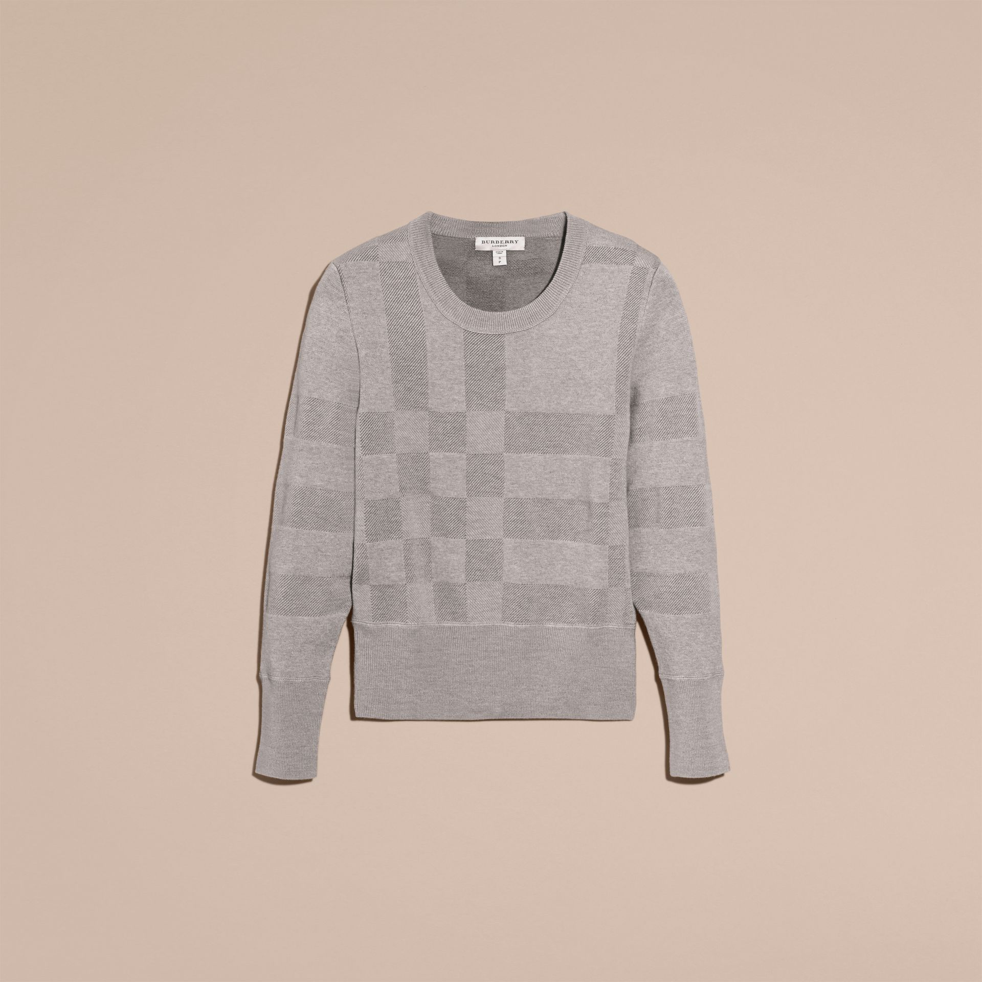Check Knit Wool Blend Sweater in Mid Grey Melange - Women | Burberry United Kingdom - gallery image 4