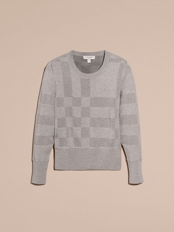 Check Knit Wool Blend Sweater in Mid Grey Melange - Women | Burberry United Kingdom - cell image 3