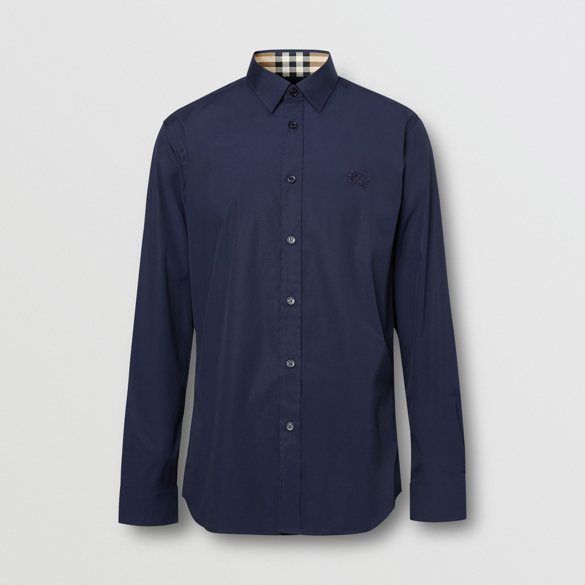Slim Fit Embroidered EKD Stretch Cotton Shirt in Navy - Men | Burberry - gallery image 6
