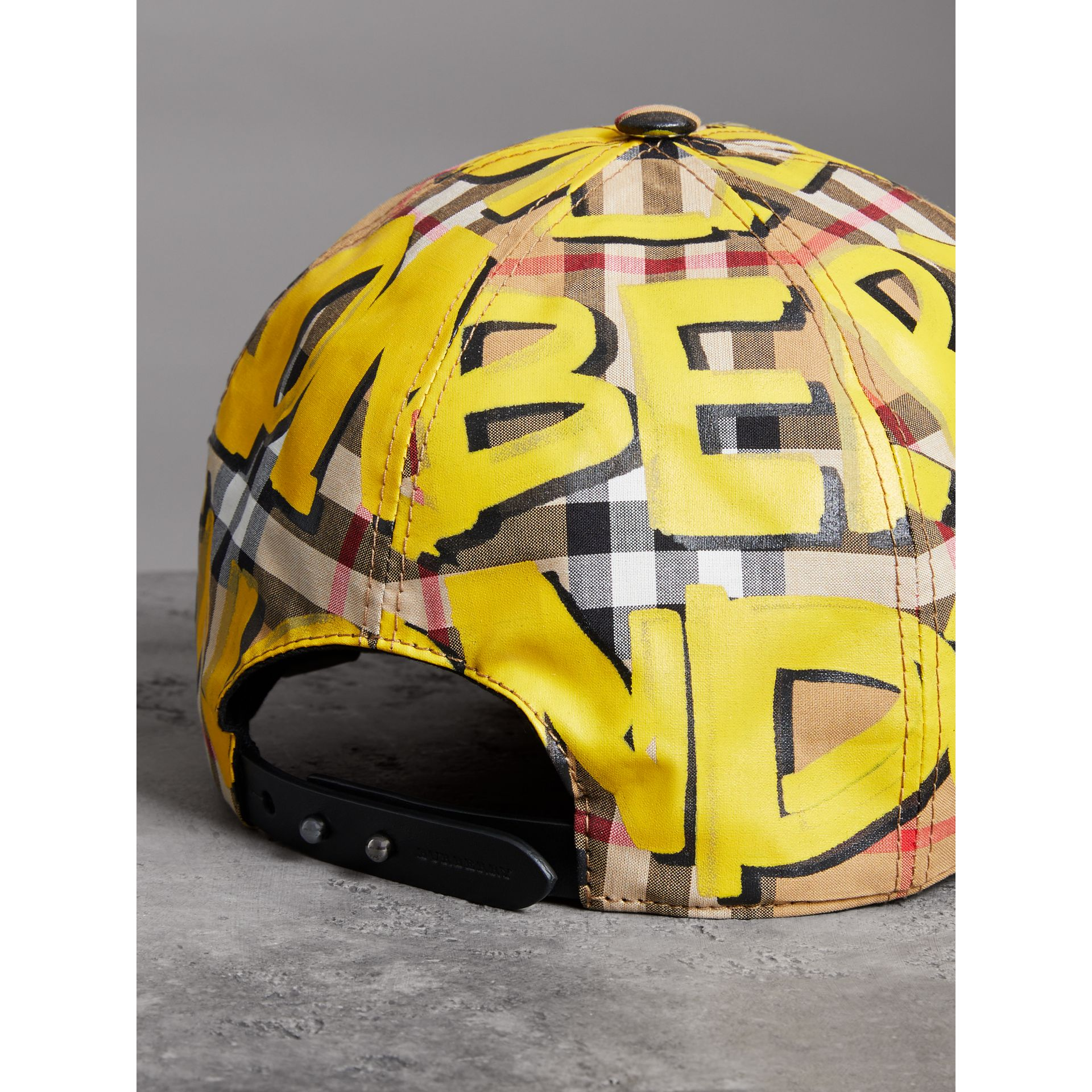 Graffiti Print Vintage Check Baseball Cap in Bright Yellow/antique Yellow | Burberry - gallery image 2