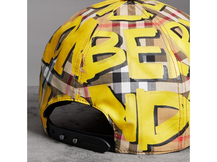 Graffiti Print Vintage Check Baseball Cap in Bright Yellow/antique Yellow | Burberry - cell image 2
