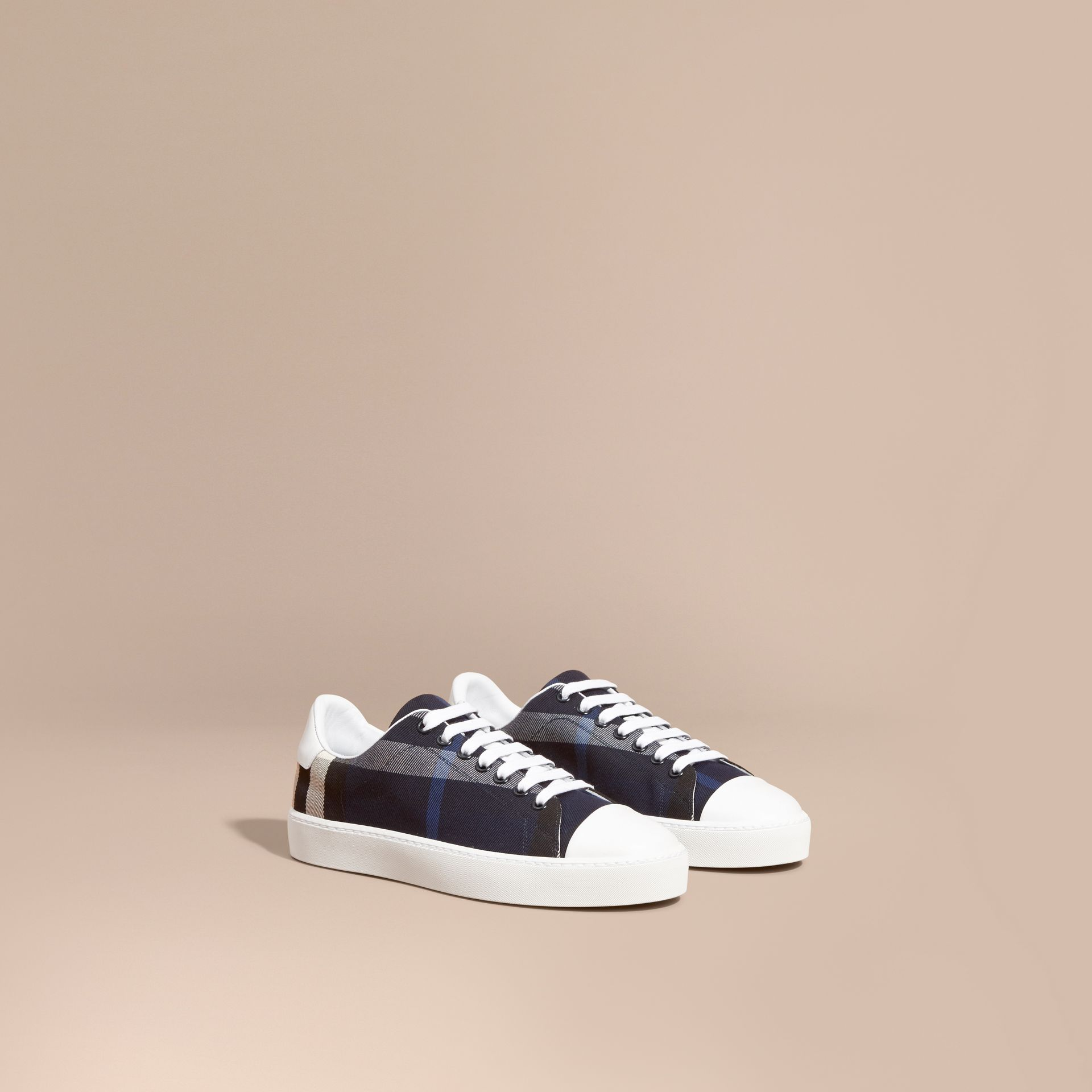 Check and Leather Trainers Indigo Blue - gallery image 1