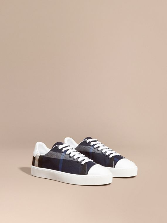 Check and Leather Trainers in Indigo Blue - Women | Burberry