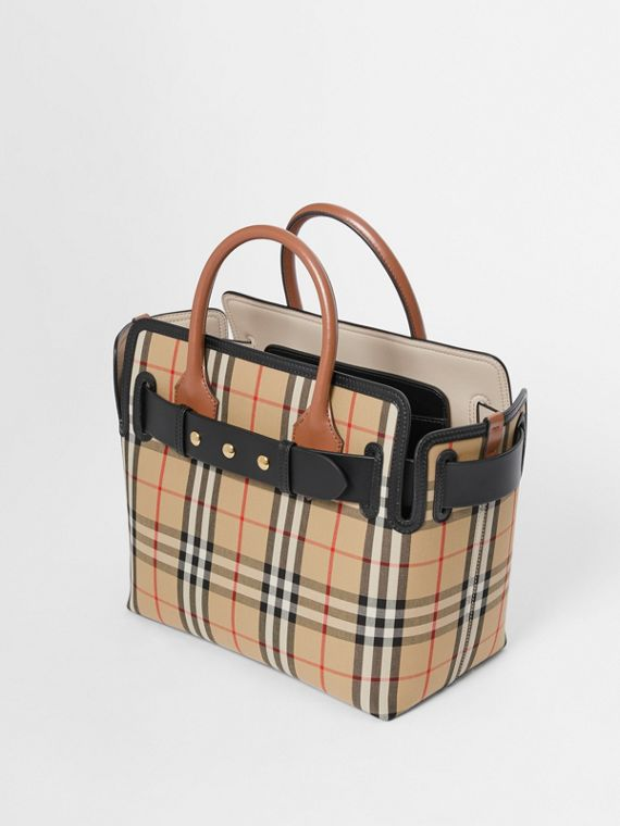 Borsa The Belt piccola con motivo Vintage check e tre borchie (Beige Archivio)