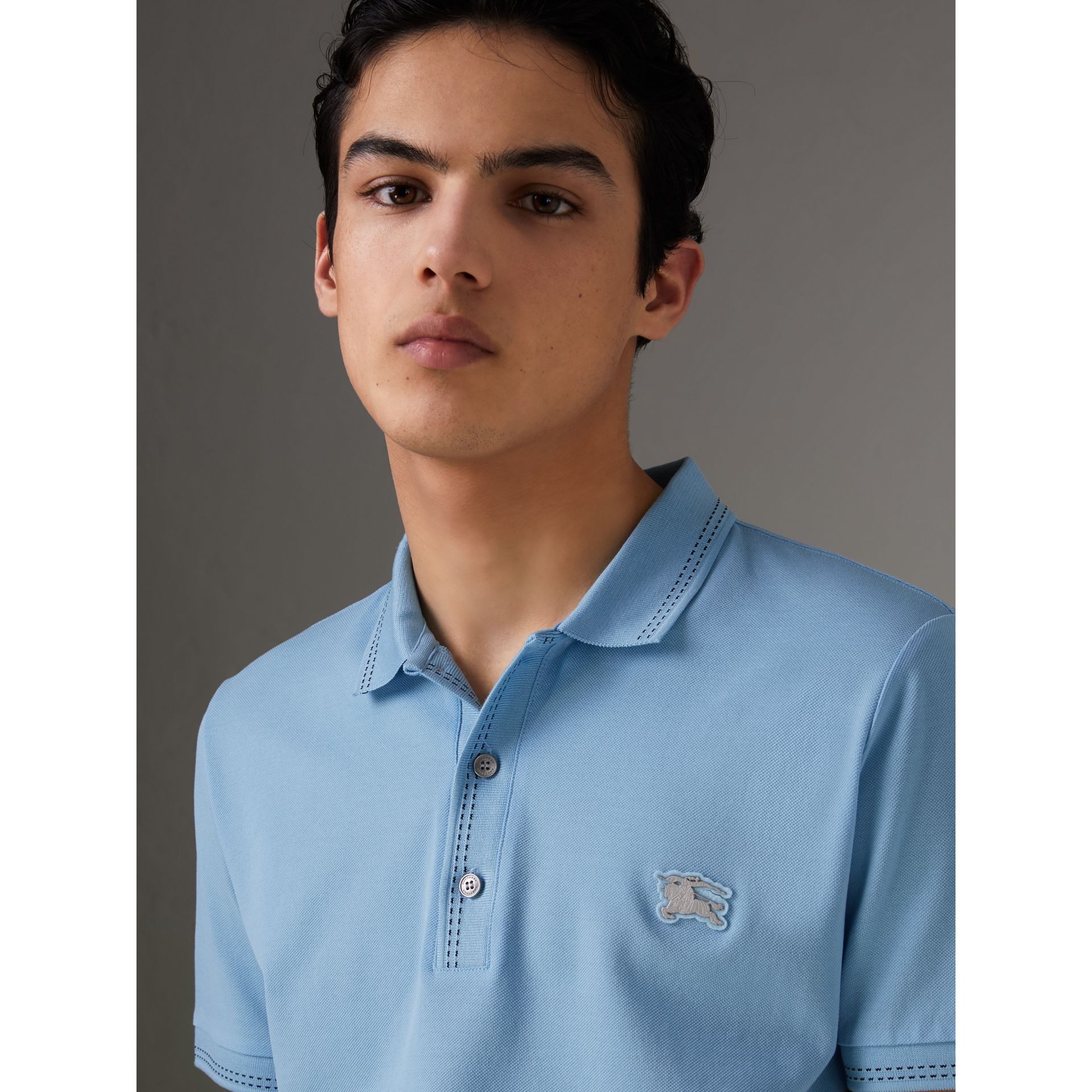 Cotton Piqué Polo Shirt in Pale Turquoise - Men | Burberry - gallery image 1