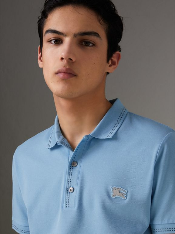 Cotton Piqué Polo Shirt in Pale Turquoise - Men | Burberry - cell image 1