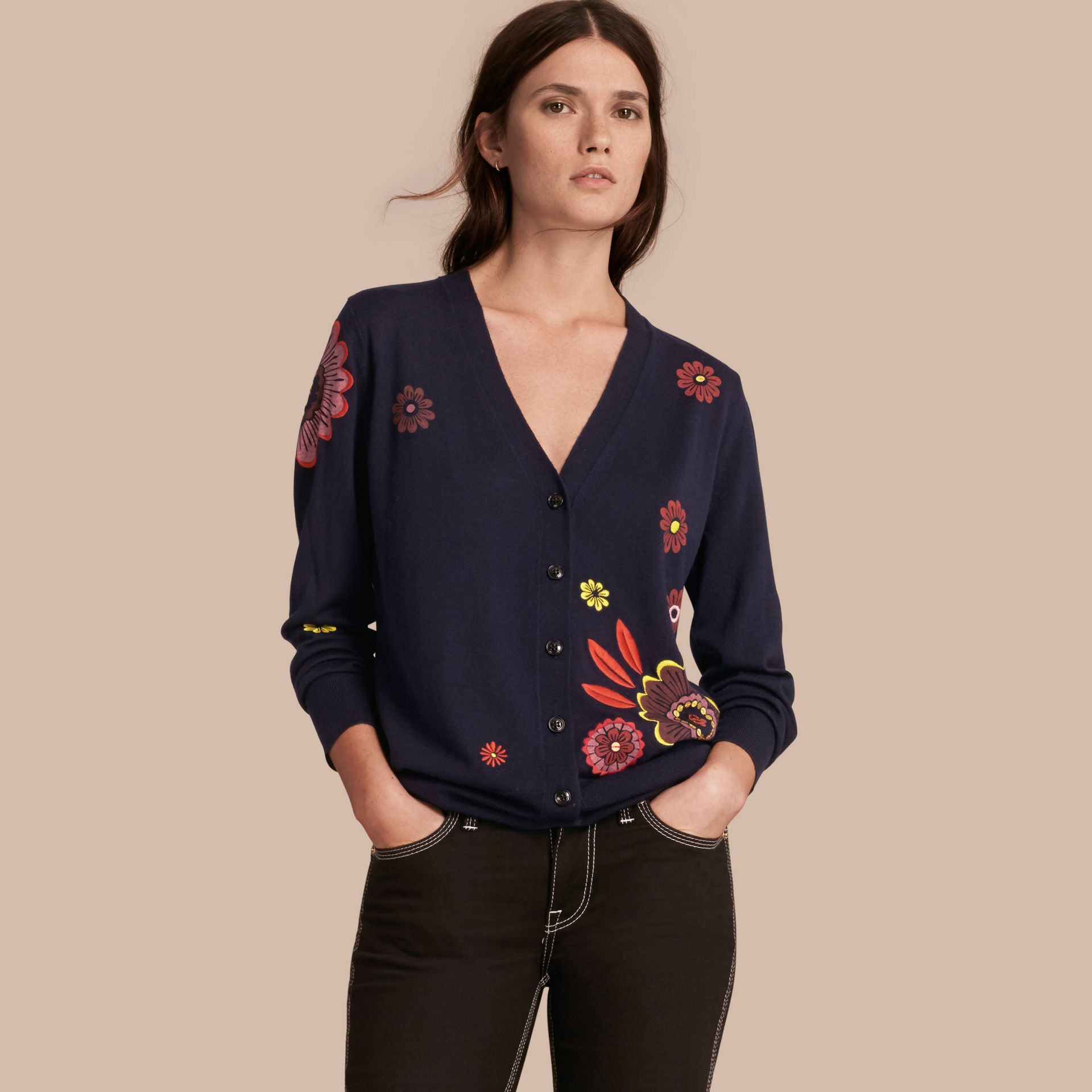 Navy Floral-embellished Merino Wool Cardigan - gallery image 1