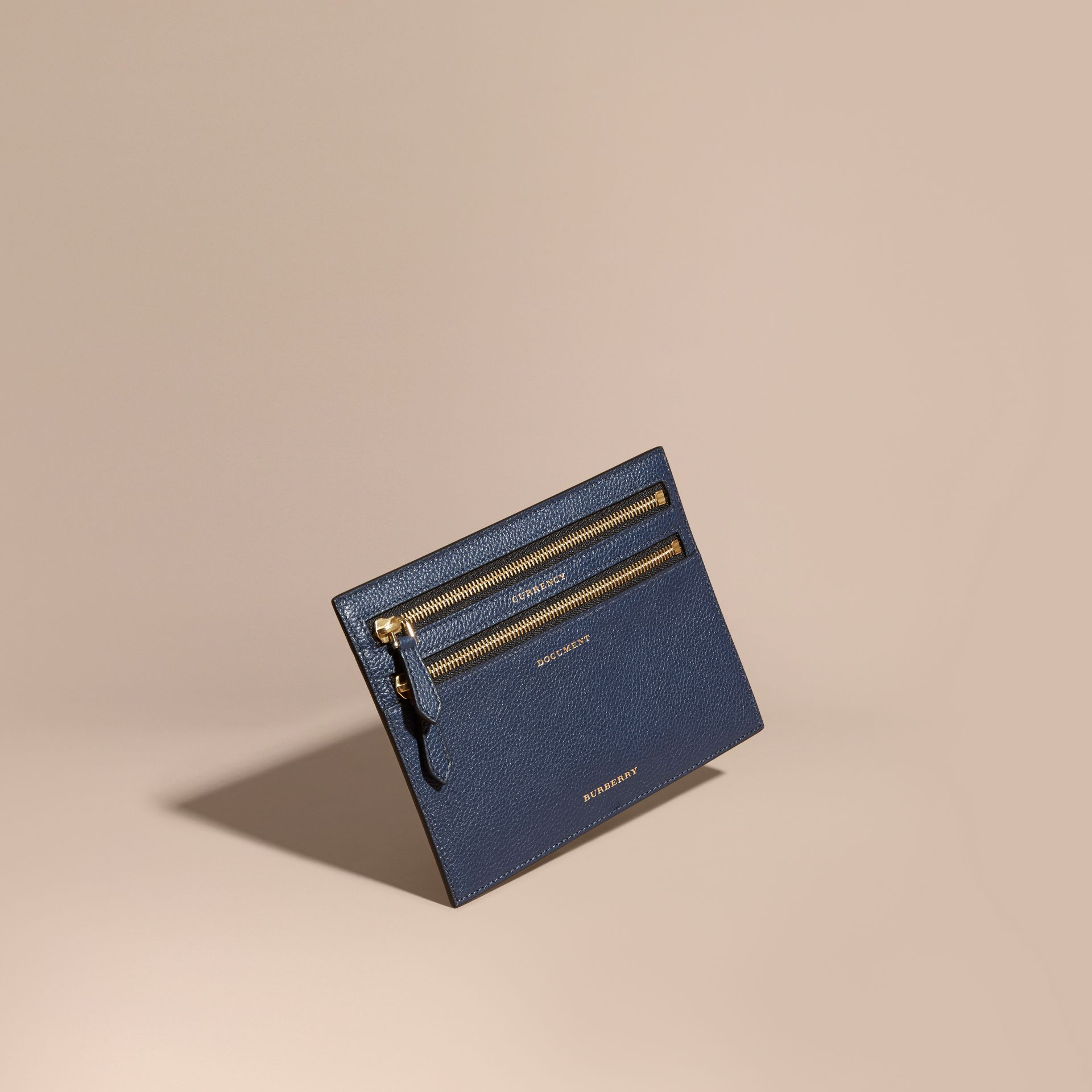 Grainy Leather Currency Wallet in Bright Navy | Burberry - gallery image 1