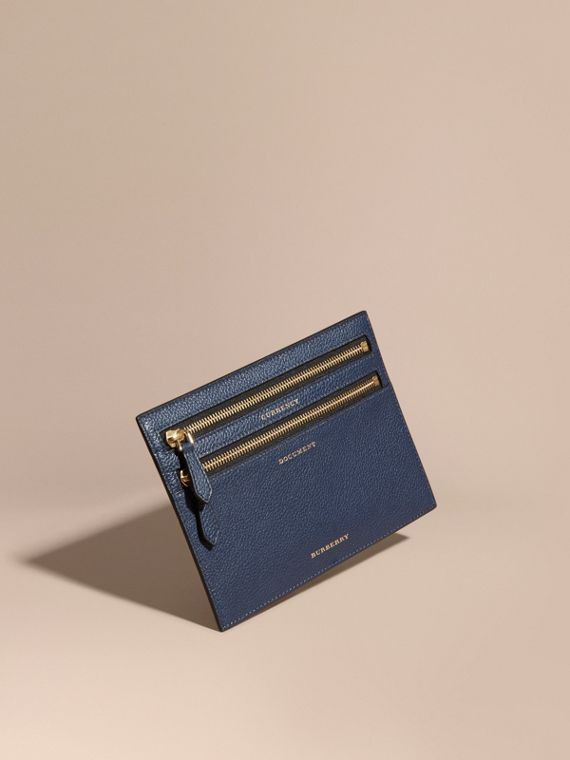 Grainy Leather Currency Wallet in Bright Navy