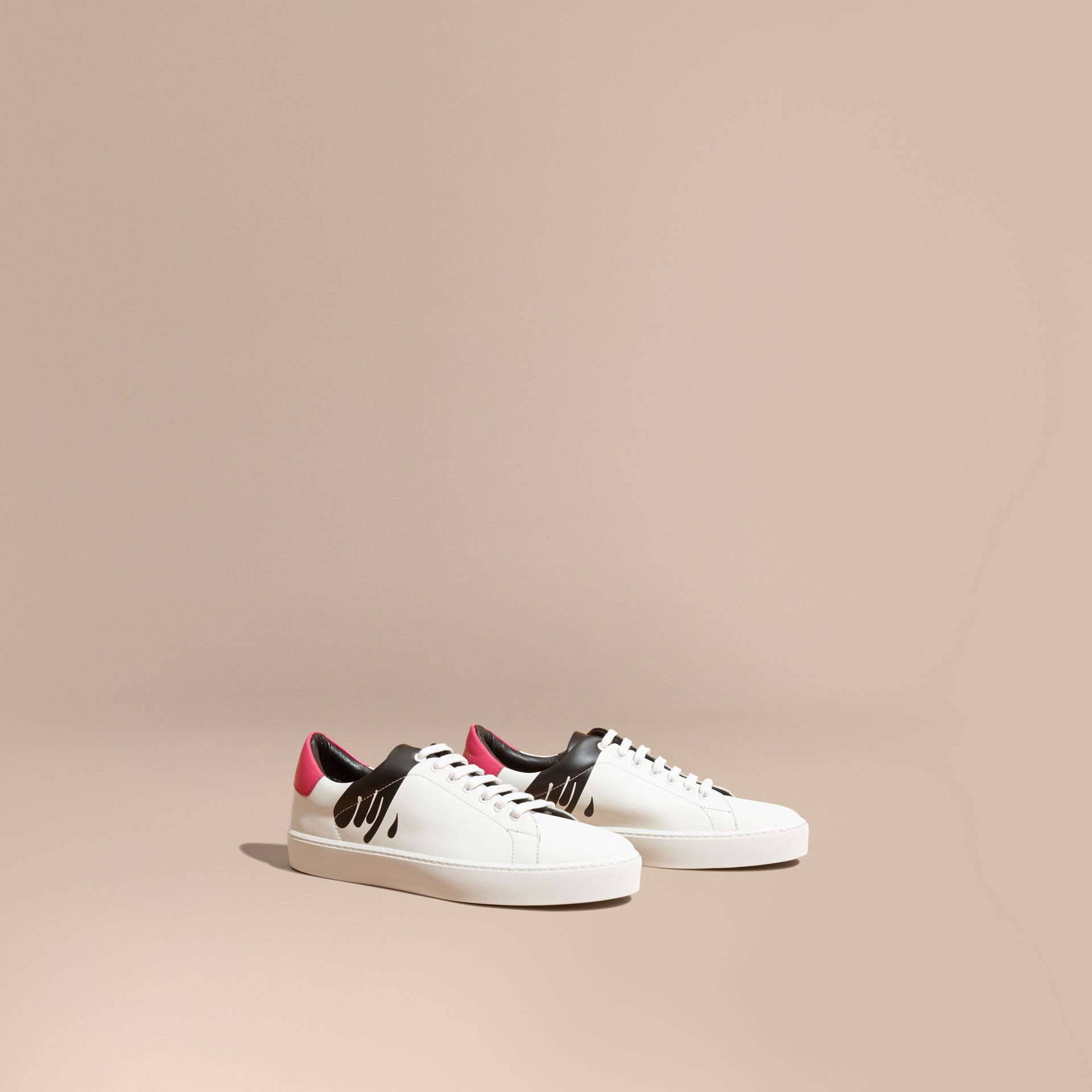 Optic white Splash Motif Leather Trainers - gallery image 1