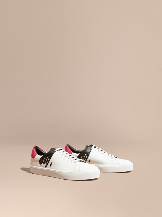 Splash Motif Leather Trainers