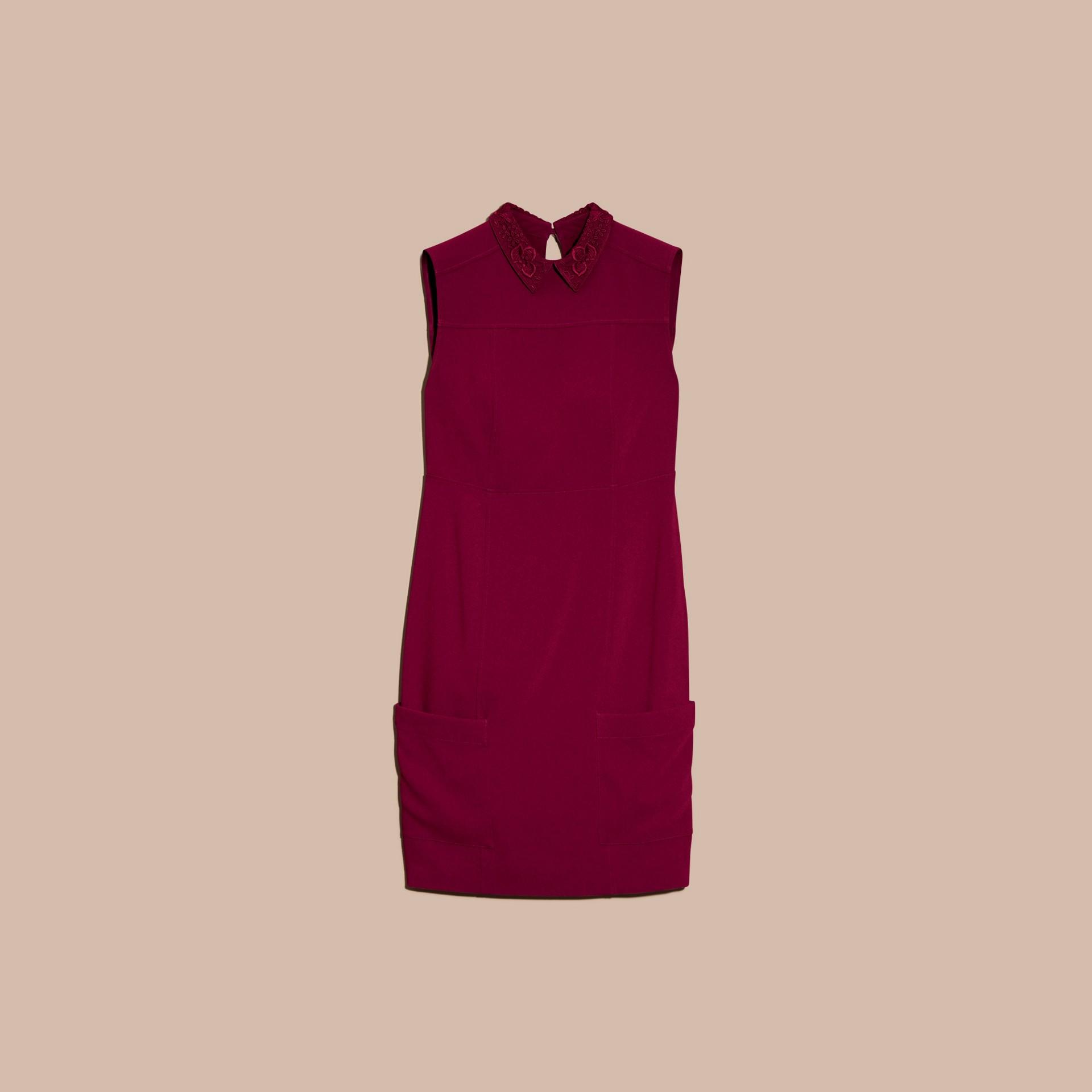 Dark crimson Sleeveless Lace Collar Dress - gallery image 4
