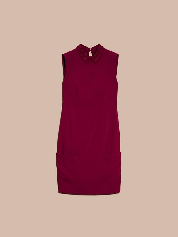 Dark crimson Sleeveless Lace Collar Dress - cell image 3