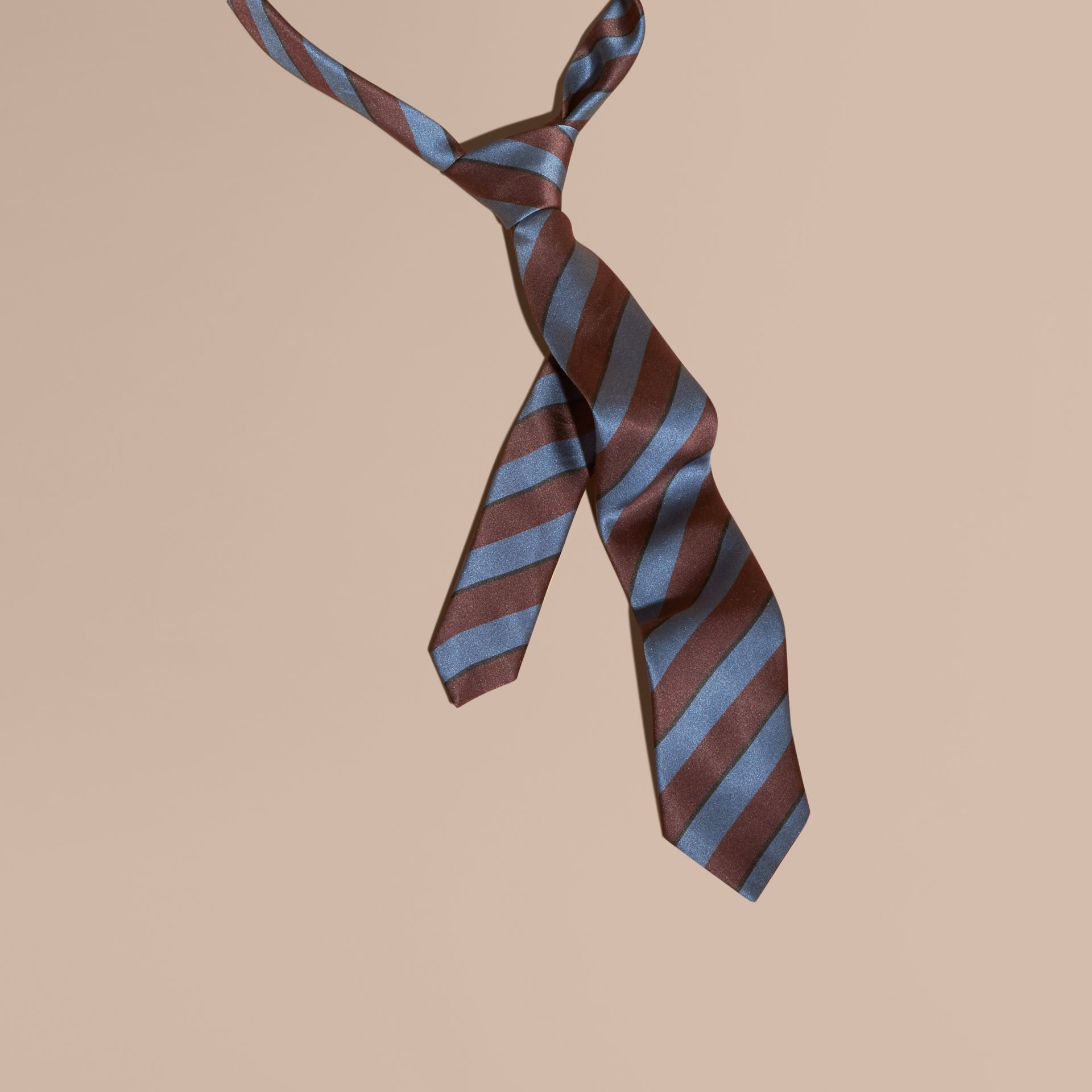Slim Cut Pyjama Stripe Silk Cotton Tie in Navy - Men | Burberry - gallery image 1