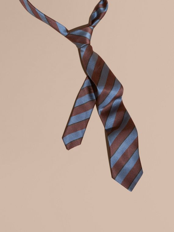 Slim Cut Pyjama Stripe Silk Cotton Tie Navy